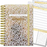 Life Organiser - Lustre Gold Floral - 4 Tabbed Sections For Undated Weekly Planner, Lists, Notes, To Dos and Foiled Stickers, Pockets, Elastic Closure