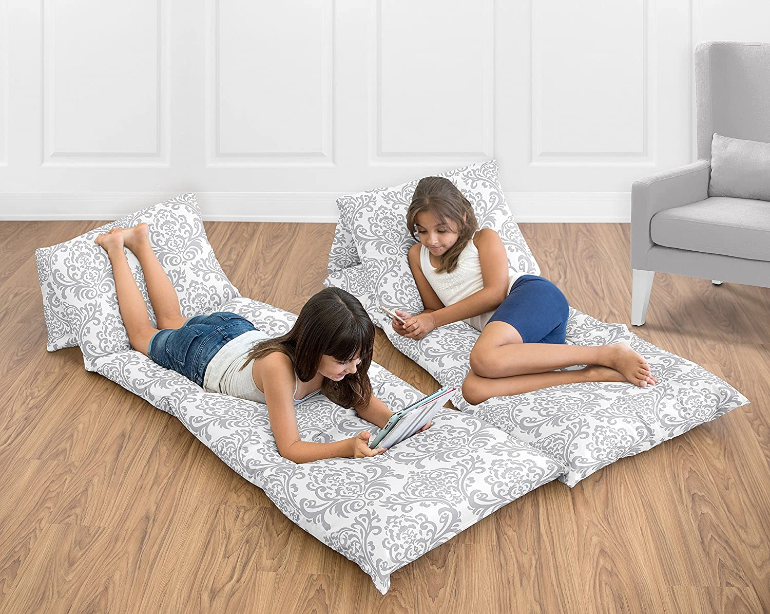 Sweet Jojo Designs Gray And White Damask Kids Teen Floor Pillow Case Lounger Cushion Cover Pillows Not Included Baby