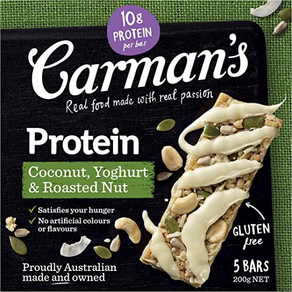 Paquete de 5 barras de proteína de yogur de coco Carmans ...