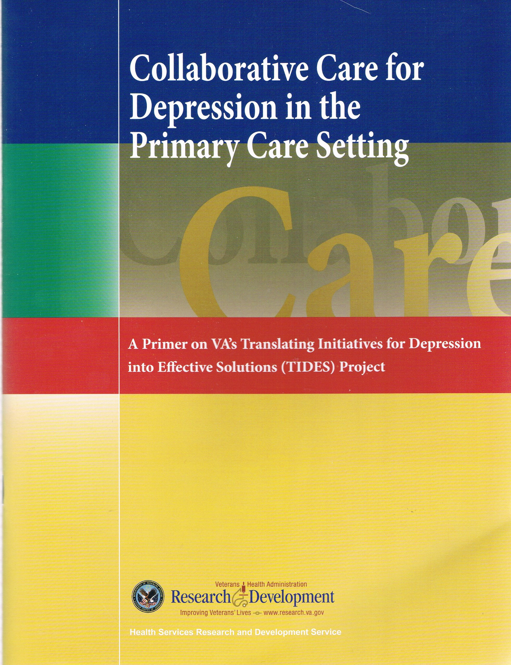 Read Online Collaborativde Care for Depression in the Primary Care Setting (A Primer on VA's Translating Initiatives for Depression) pdf
