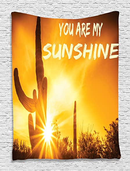 Amazon.com: Quote Tapestry Wall Decor by Ambesonne, Desert Sunset ...