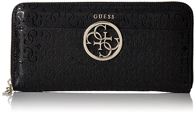 99a6cd806 GUESS Kamryn G-Shine Large Zip Around Wallet Bla, Black,One size ...