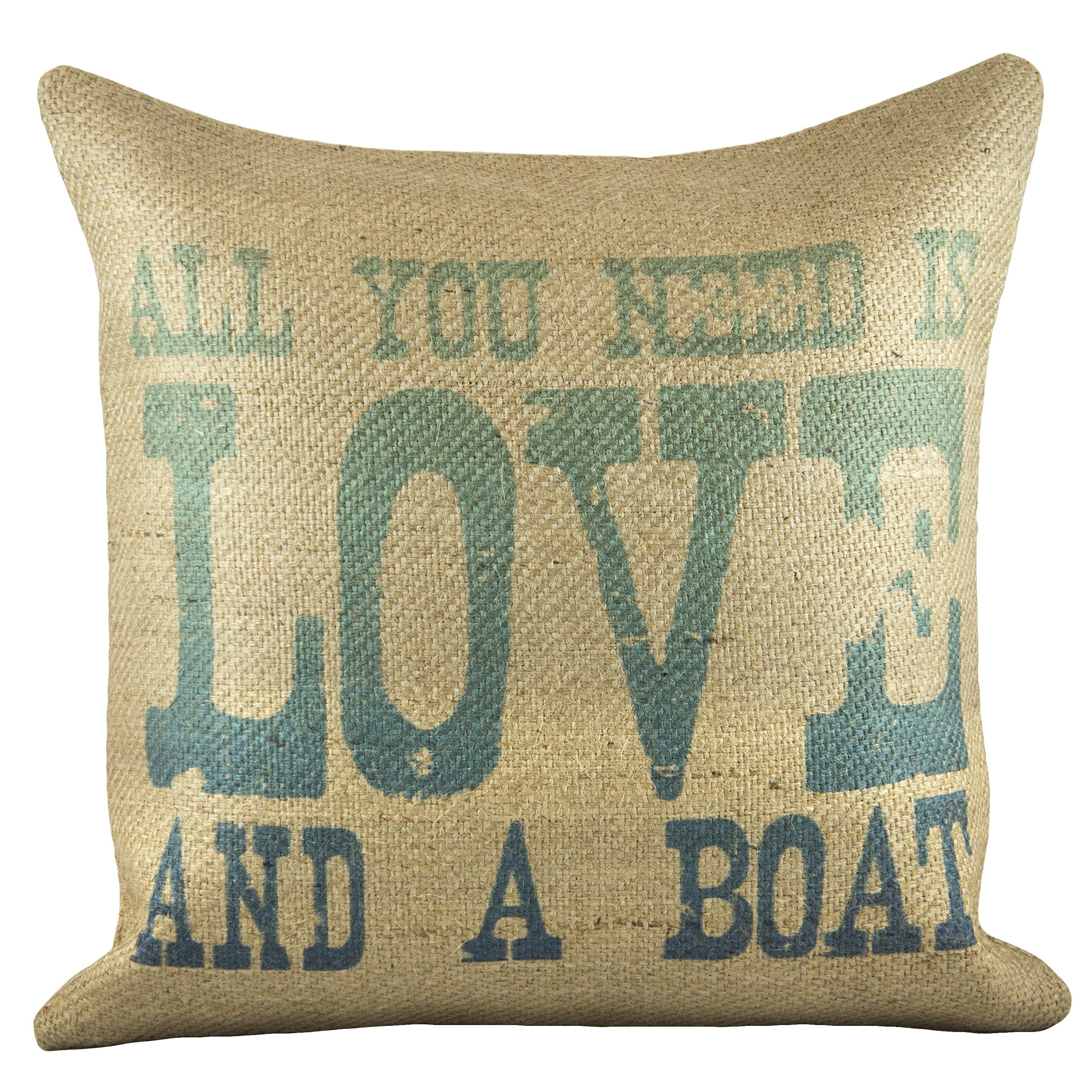 TheWatsonShop 'Love And A Boat' Burlap Pillow