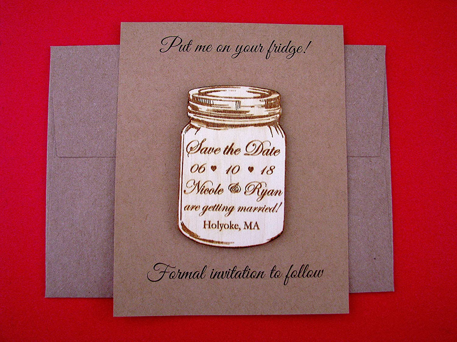 Amazon.com: Mason Jar personalized save the date magnet, rustic ...