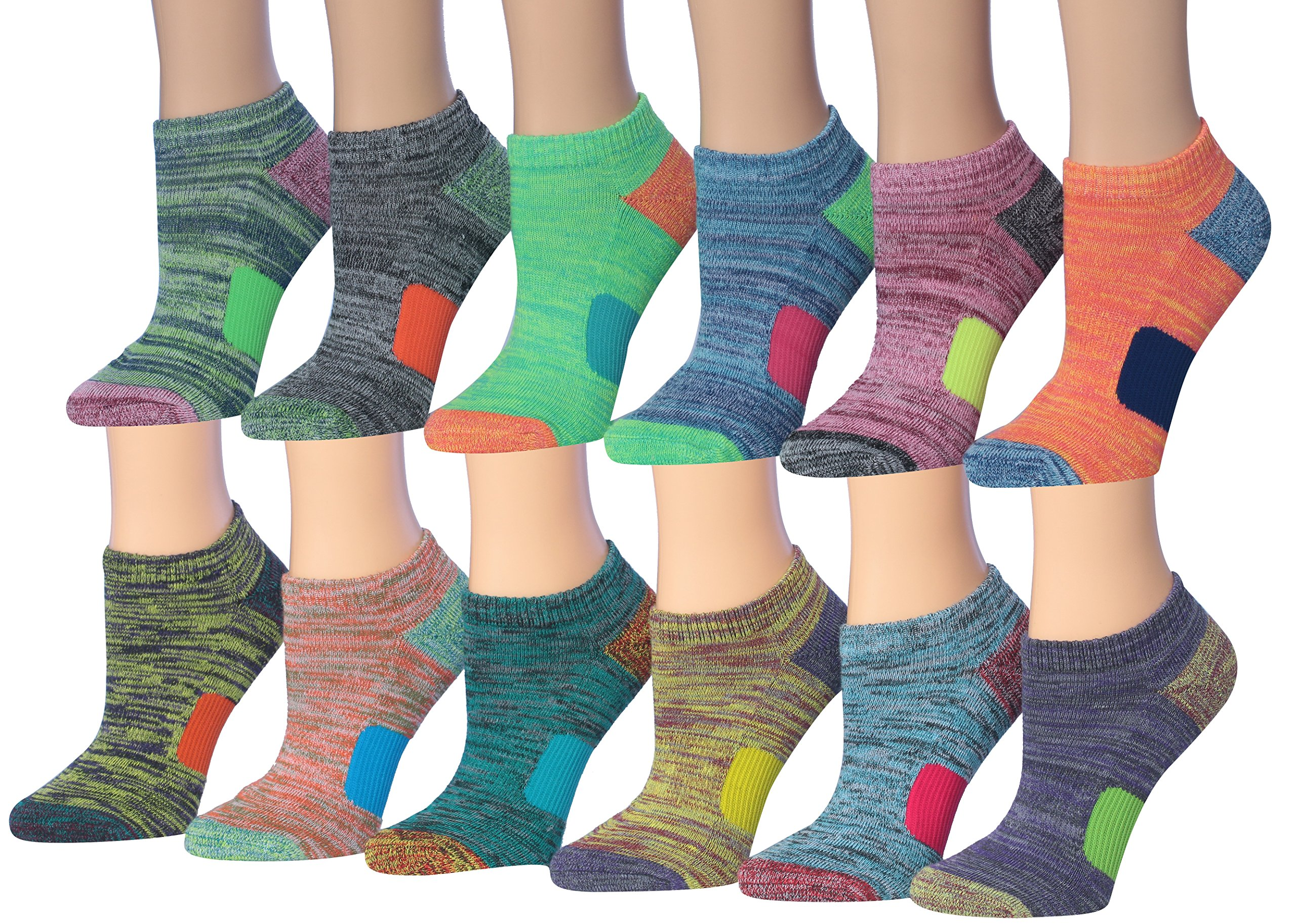 Tipi Toe Women's 12-Pairs Space Dye Athletic Performance Socks, Fits shoe size 6-9, SP33-12