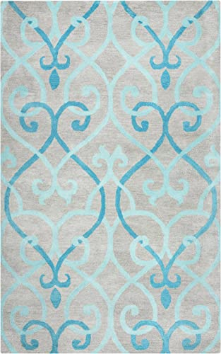 Rizzy Home Bradberry Downs Collection Wool Area Rug, 9 x 12 , Blue Gray Rust Blue Trellis