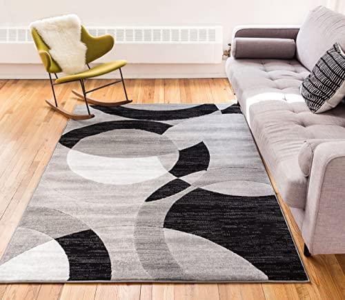 Well Woven Jackpot Grey Geometric Modern Casual Abstract Boxes Lines Circles 5×7 5 x 7 2 Area Rug Thick Soft Plush Shed Free