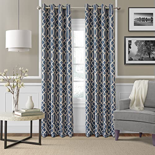 Elrene Home Fashions Energy Efficient Room Darkening-Rod Pocket Window Panel Harper Indigo 52 x 95 1 Panel 1