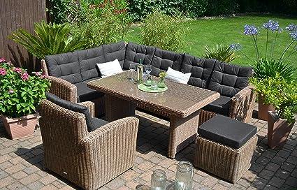 Bomey Rattan Lounge Set I Gartenmobel Set Manhattan 4 Teilig I Gartensofa Braun Tisch Sessel Hocker Polster Schwarz I Essgarnitur Fur Terrasse