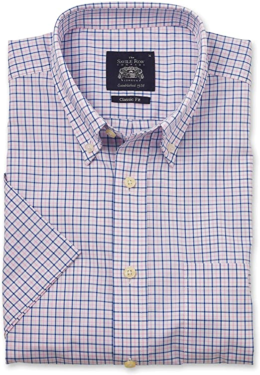 YYear Mens Casual Short Sleeve Check Classic Fit Button Down Shirt