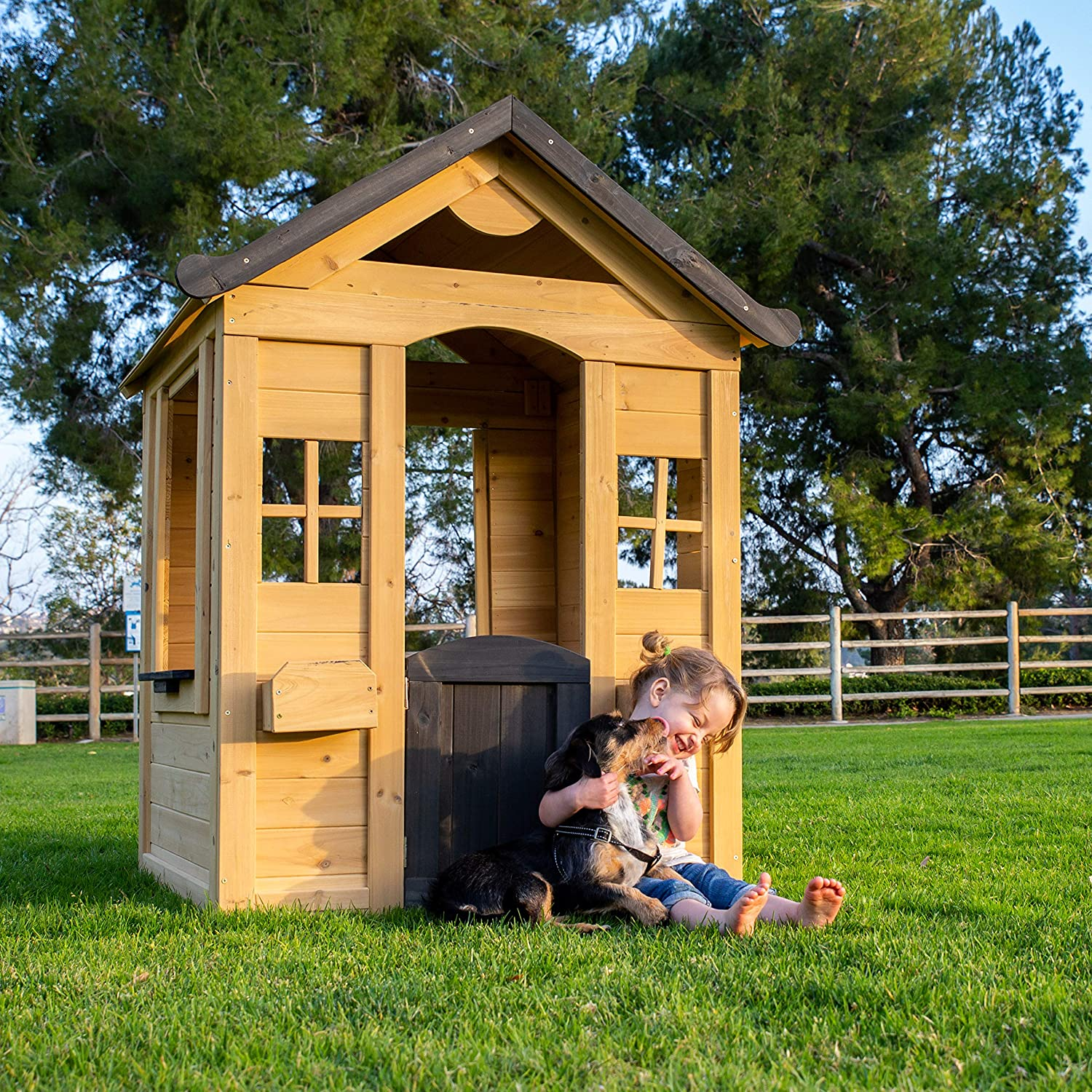 Amazoncom Be Mindful Solid Wood Outdoor Playhouse In Natural