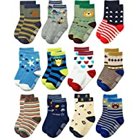 RATIVE Non Skid Anti Slip Slipper Cotton Crew Socks With Grips For Baby Toddlers Kids Boys