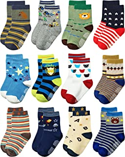 Shoppewatch 12 Pairs Baby Toddler Socks Anti Slip Grips Non Skid