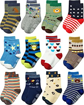 Deluxe Anti Non Skid Slip Cotton Crew Socks With Grips For Infant Baby Toddler Boys