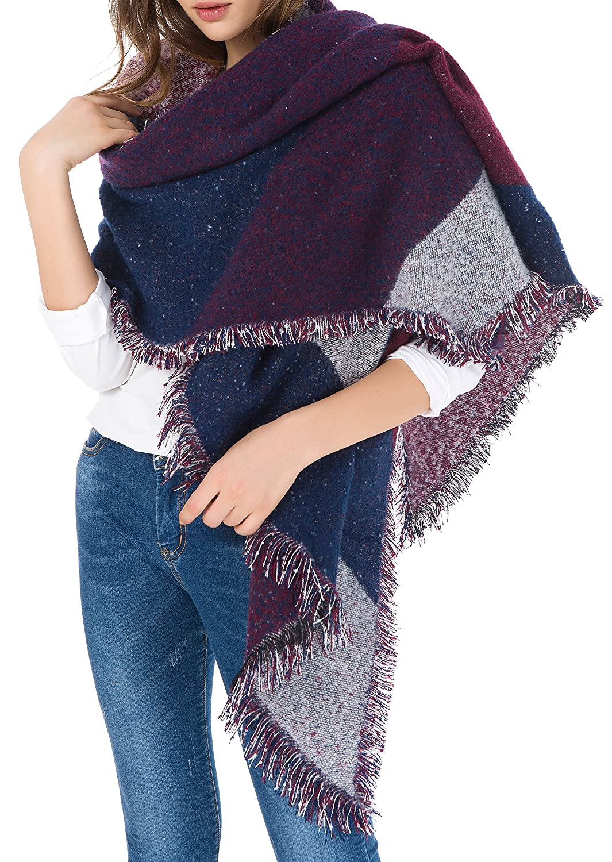 Jusfitsu Women's Fashion Warm Wool Cashmere Bevel Tassels Scarf Wrap Shawl