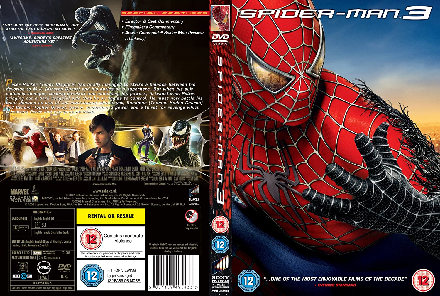 spider man 3 dvd cover images galleries with a bite. Black Bedroom Furniture Sets. Home Design Ideas