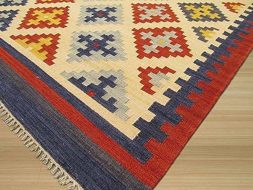 EORC DN8MU Handmade Wool Keysari Kilim Rug, 5 6 x 7 6, Ivory