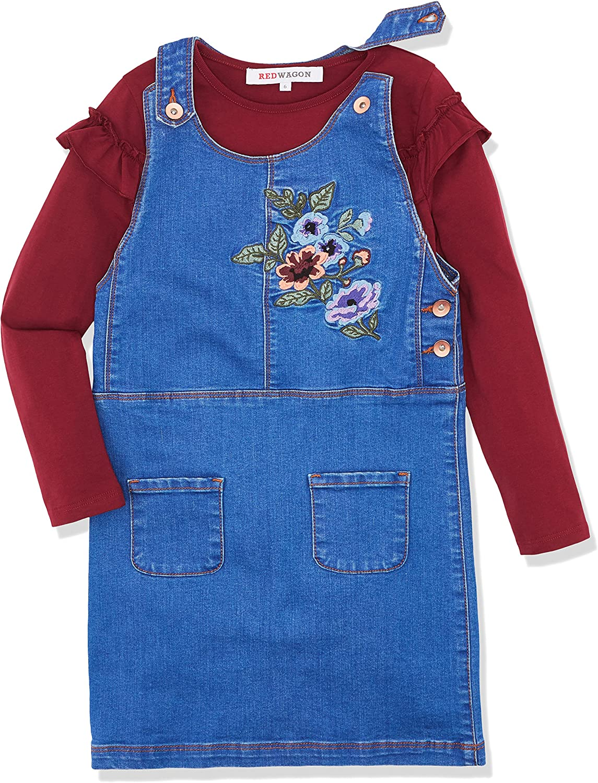 Marchio RED WAGON Vestito di Jeans con Ricamo Floreale Bambina