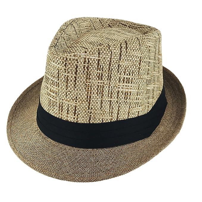 d11fc33b0a Faddism Unisex Ribbon 2 Tone Cuban Brim Fedora Straw Hat Model 210