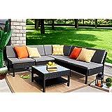 Baner Garden (K55) 6 Pieces Outdoor Furniture Complete Patio Wicker Rattan Garden Corner Sofa Couch Set, Full, Black