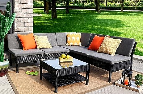 baner garden k55 6 pieces outdoor furniture complete patio wicker rattan garden corner sofa - Garden Furniture Corner Sofa