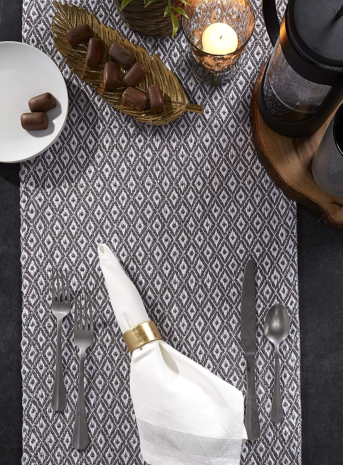 Stone Taupe CAMZ38883 Fall Holidays DII Braided Cotton Table Runner Perfect for Spring Parties and Everyday Use 15x72