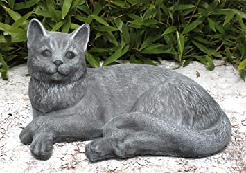 cat garden statue. garden ornaments cat, cast stone, slate gray cat statue amazon uk