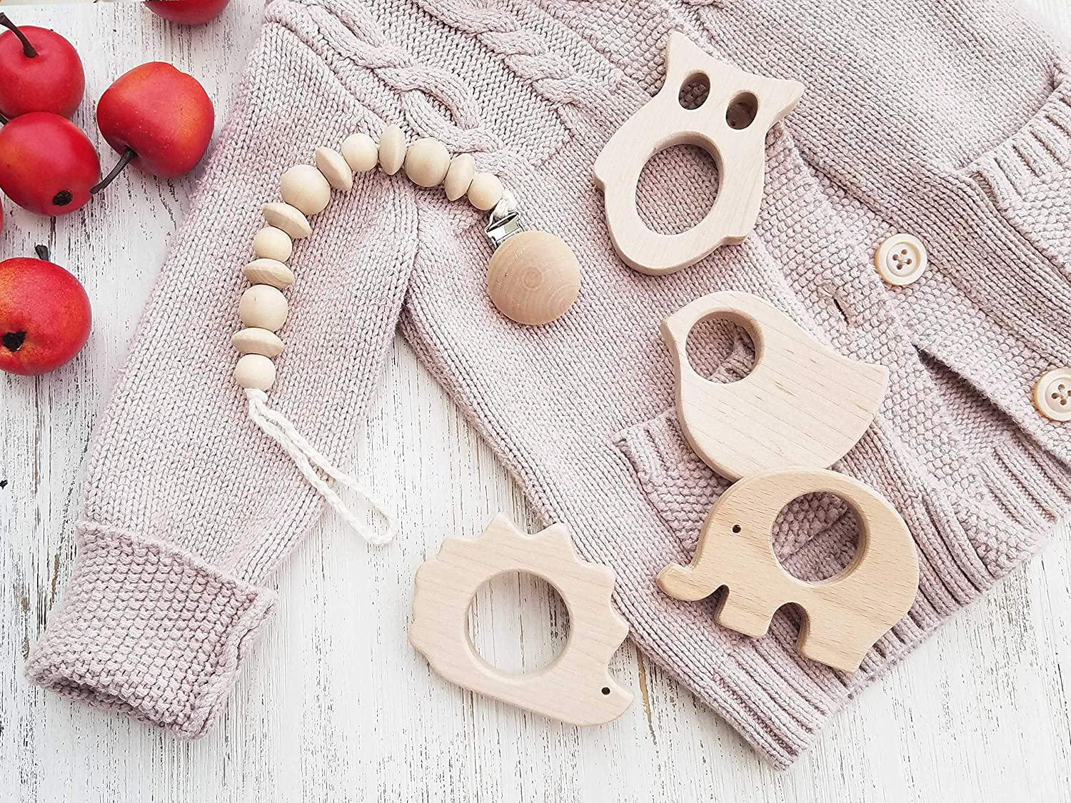 Amazon Wooden Teether Toy And Pacifier Holder Natural Organic