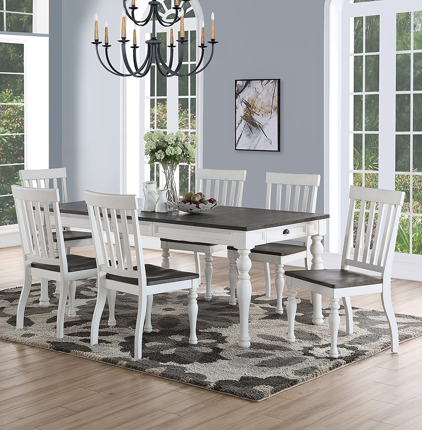 Fabulous Joanna Two Tone 7 Piece Dining Set Download Free Architecture Designs Estepponolmadebymaigaardcom