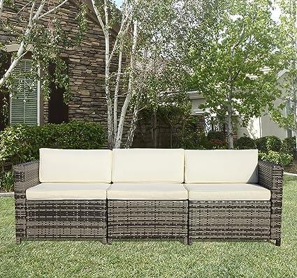 Merveilleux Outdoor Patio Furniture Set, 3 Seater Seating White Cushions, 2 Corner Sofa  1
