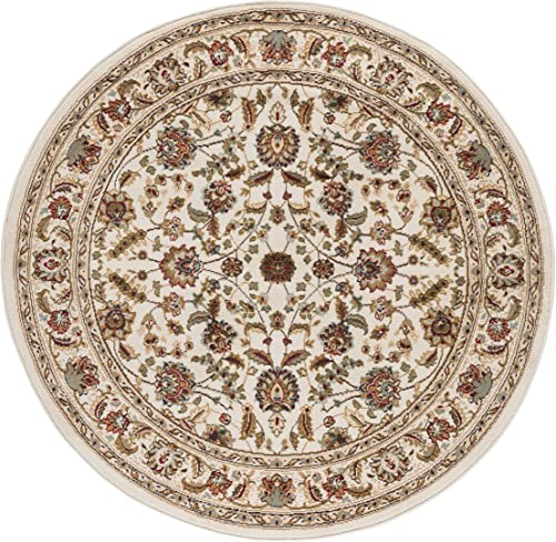Tayse Lizbeth Ivory 6 Foot Round Area Rug for Living, Bedroom, or Dining Room – Traditional, Oriental