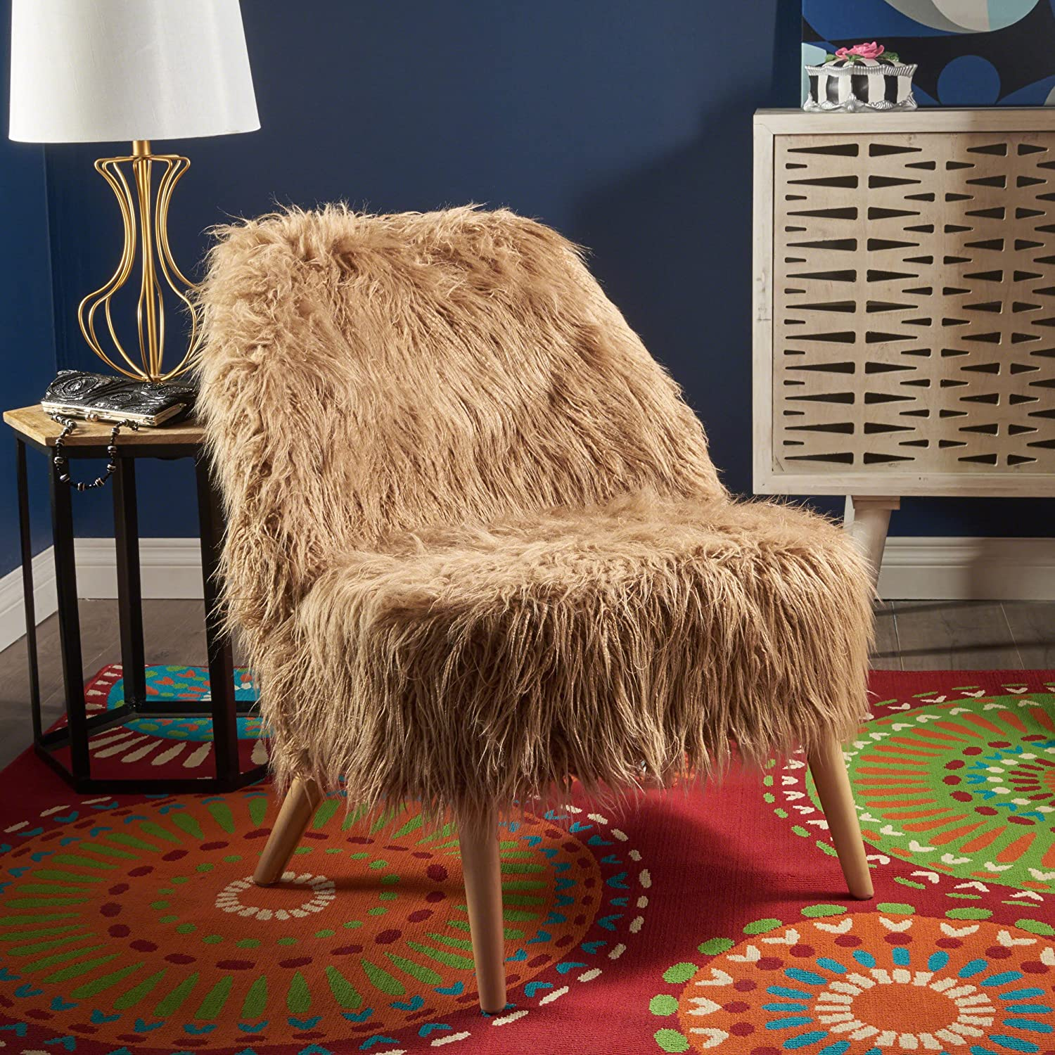 1fdd8e39d3d2 Amazon.com  Soho Glam Faux Fur Chair - Shaggy Faux Fur Accent Chair - Faux  Sheepskin Chair  Kitchen   Dining