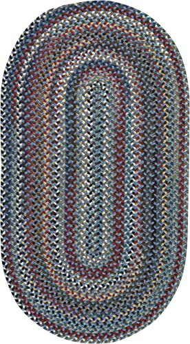 Capel Rugs Bunker Hill Braided Rug – Medium Blue – 8 x 11 – Oval