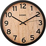 "Amazon Brand - Solimo 12"" Wall Clock - Vintage Paneling (Silent Movement, Black Frame)"