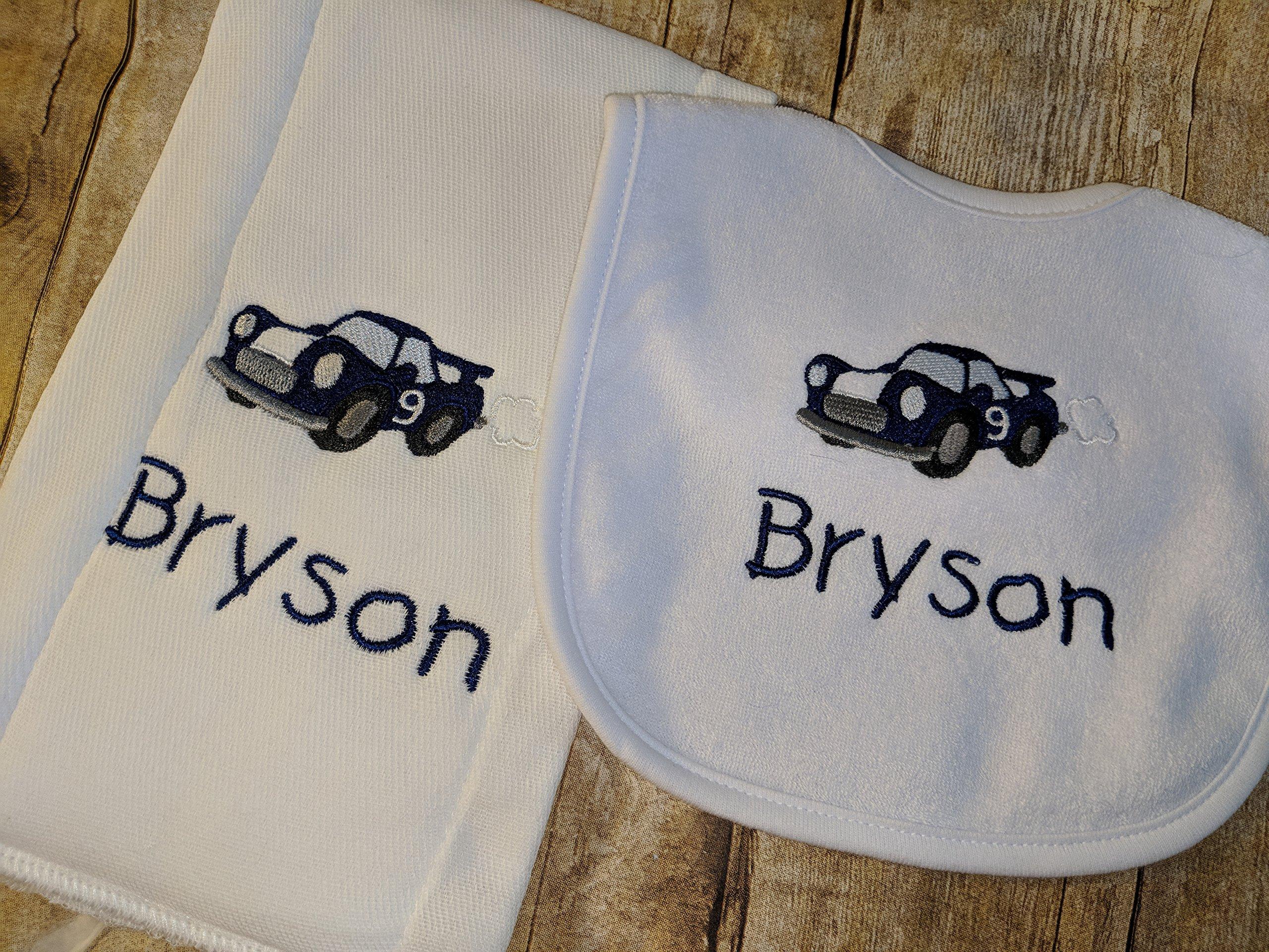 Race car baby personalized bib and burp set