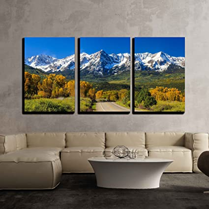 Amazon.com: wall26 - 3 Piece Canvas Wall Art - Countryside Road ...