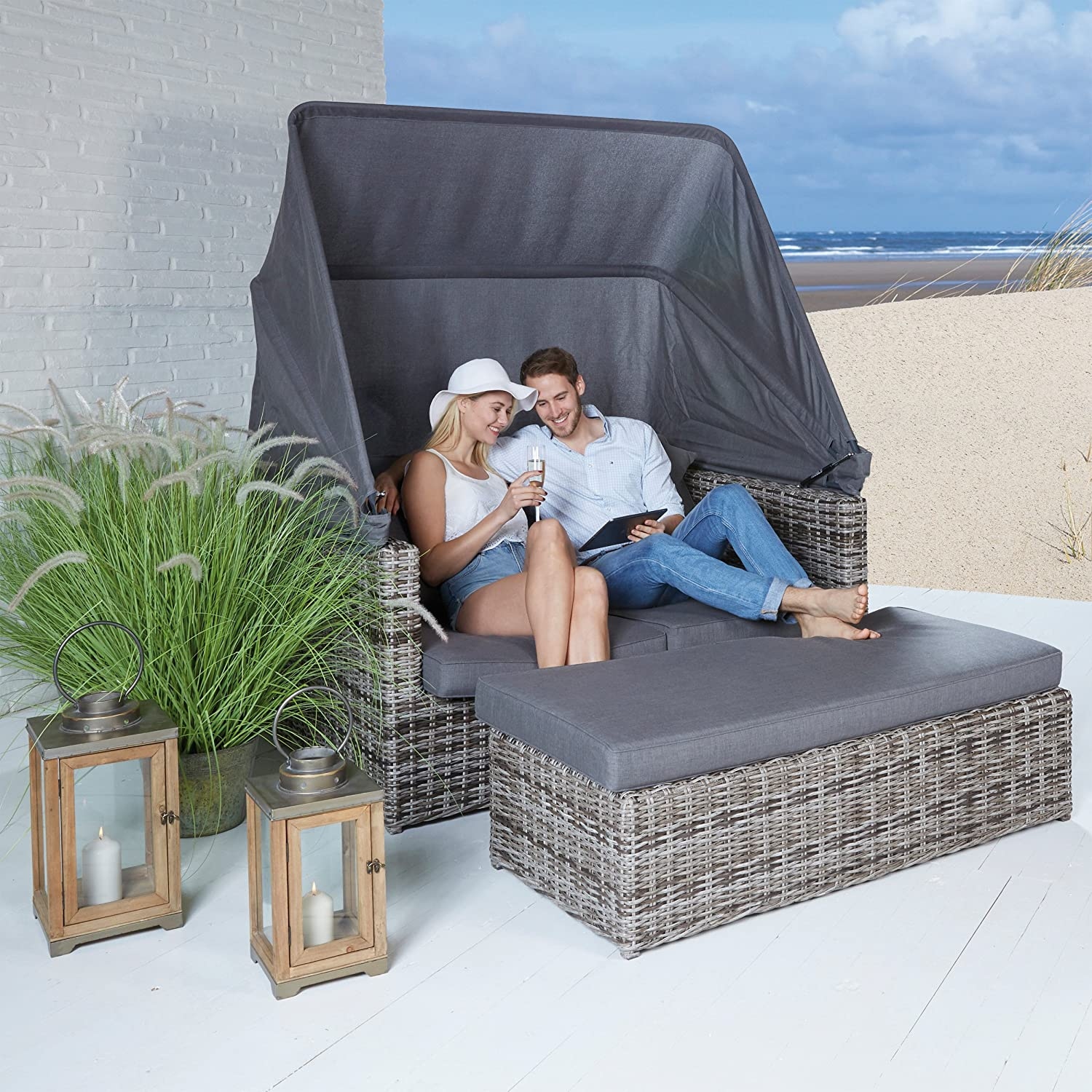 poly rattan strandkorb set sonneninsel gartenm bel strandmuschel braun 2 teilig jetzt kaufen. Black Bedroom Furniture Sets. Home Design Ideas