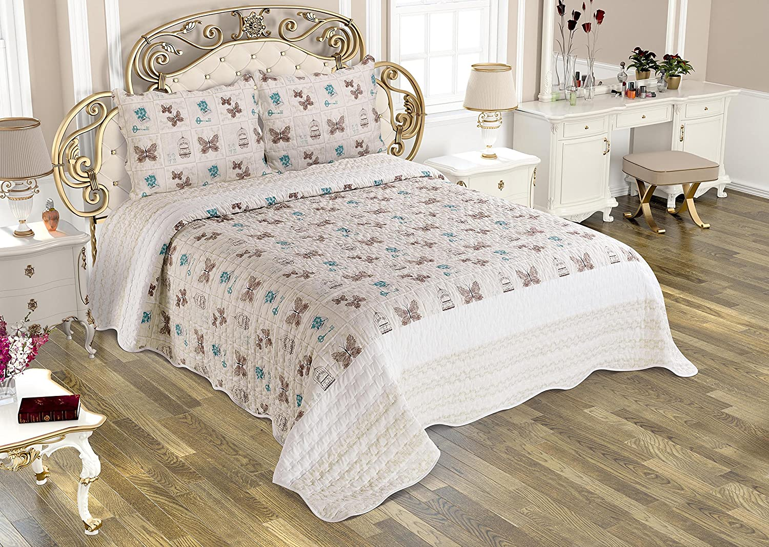 Bedspread Matelasse Bedcover Double-Sided Bedding Coverlet Lightweight Comforter Linen Looking Luxurious Bed Cover