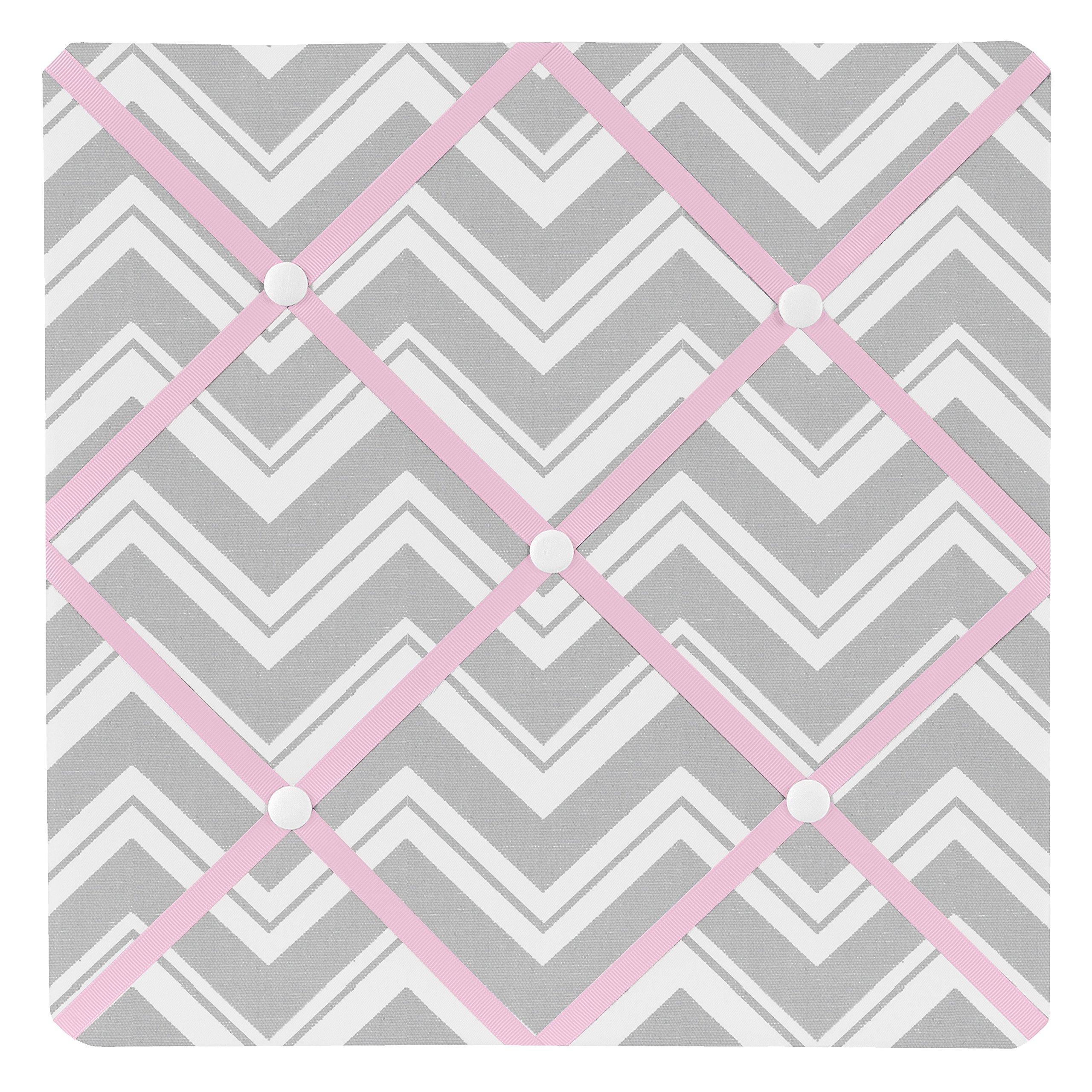 Sweet Jojo Designs Pink and Gray Chevron Zig Zag Fabric Memory/Memo Photo Bulletin Board