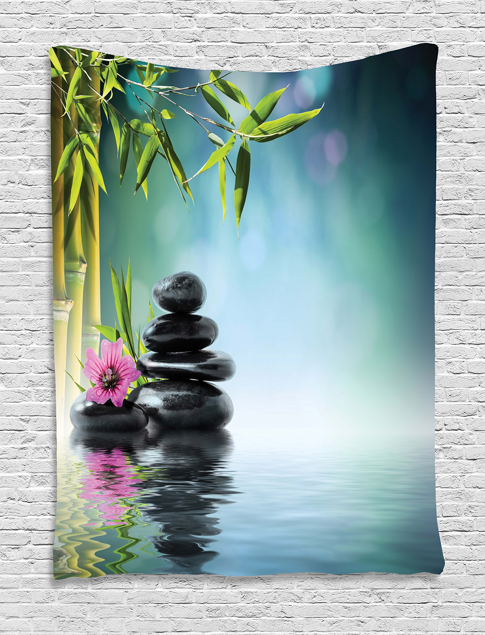 Ambesonne Zen Garden Tapestry, Pink Flower Spa Stones and Bamboo Tree on The Water Relaxation Theraphy Peace, Wall Hanging for Bedroom Living Room Dorm, 60 W X 80 L inches, Multicolor
