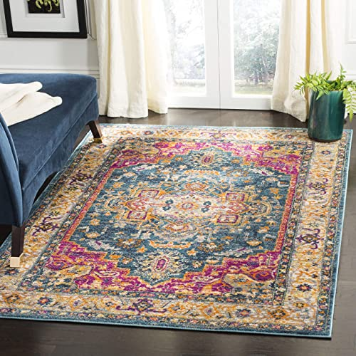 Safavieh MAD202M-6 Madison Collection MAD202M Blue and Multi Area 6 x 9 Rug,