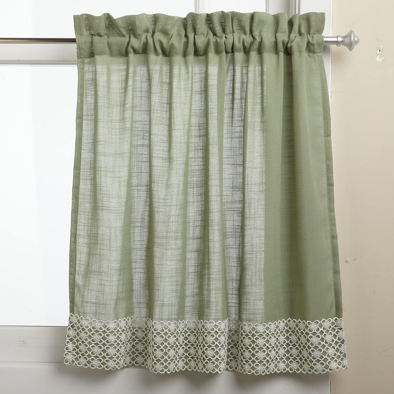 Amazon.com: Lorraine Home Fashions Salem 60 Inch X 36 Inch Tier Curtain  Pair, Sage: Home U0026 Kitchen