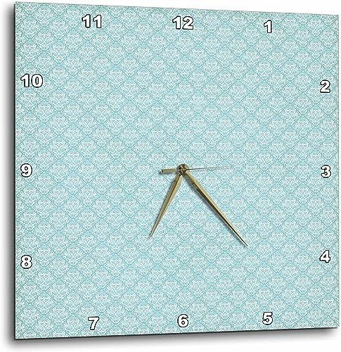 3dRose Pretty Light Blue and White Small Diamond Damask – Wall Clock, 10 by 10-Inch DPP_215626_1