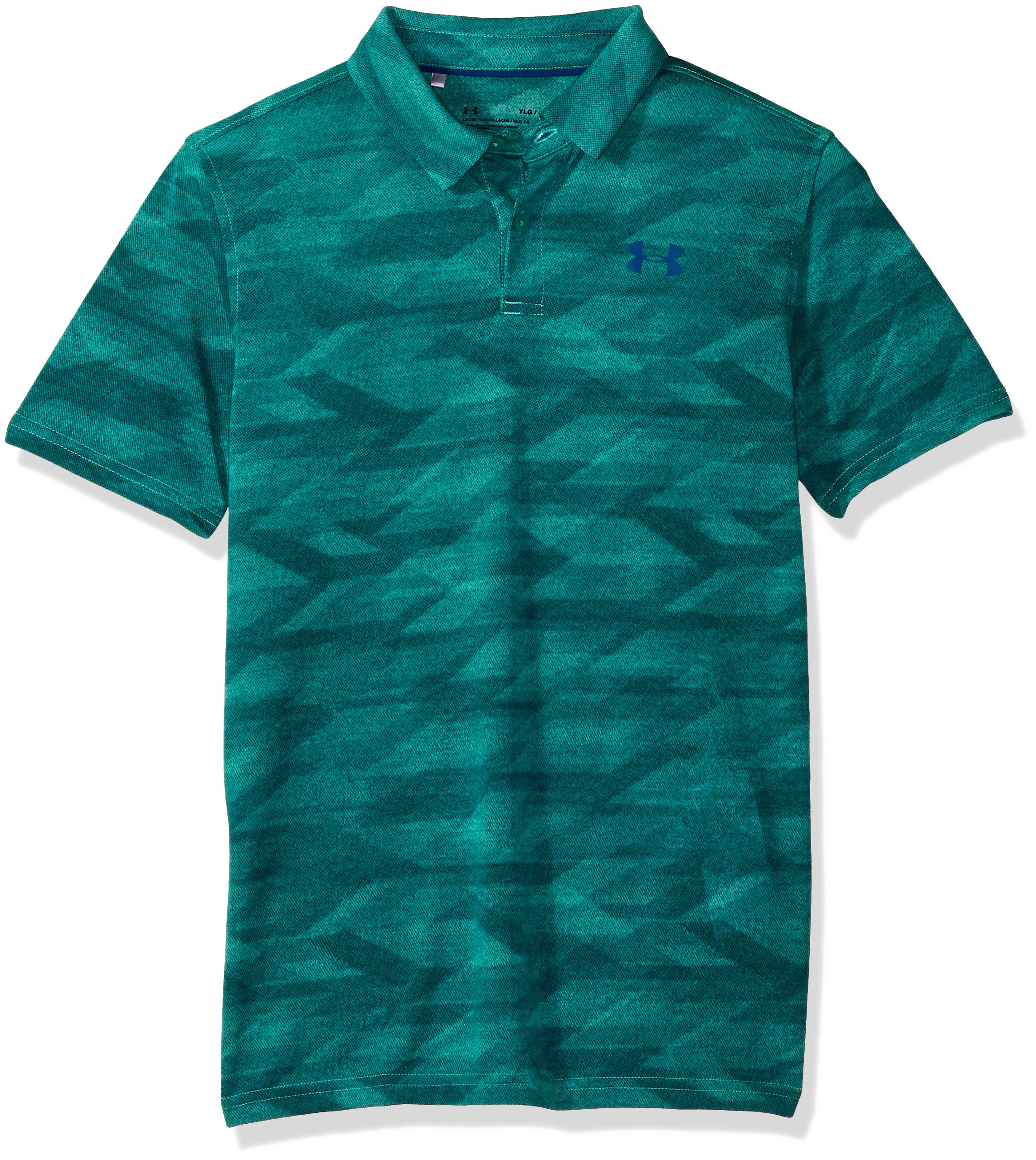 Under Armour Boys' Threadborne Polo, Teal Punch (595)/Moroccan Blue, Youth X-Small by Under Armour
