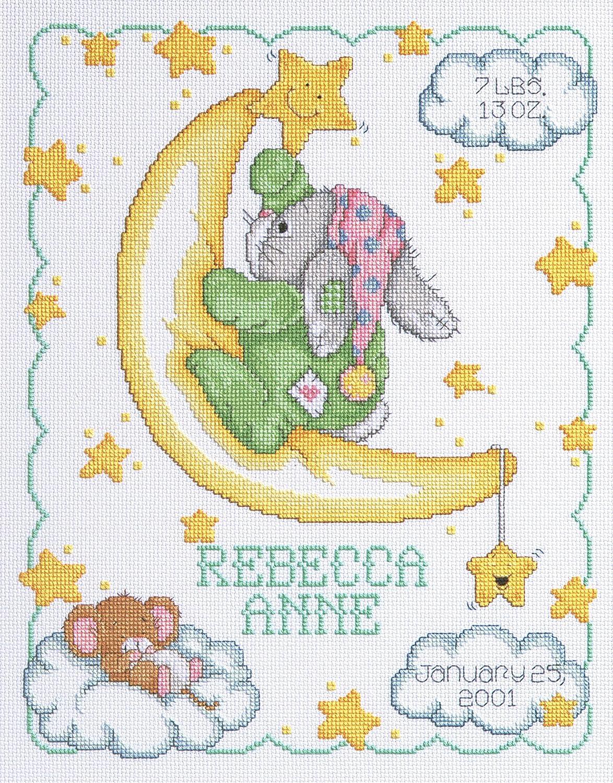 14-Inch by 11-Inch Janlynn Cross Stitch Kit Crescent Moon Birth Announcement White