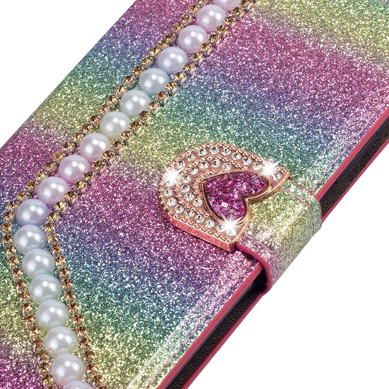 Miagon Diamond Case for Samsung Galaxy S10,Luxury Glitter Rhinestone Pearl Heart PU Leather Folio Flip Wallet Cover Magnetic Closure Card Slots,Black