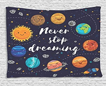 Amazon.com: Quotes Decor Tapestry by Ambesonne, Cute Outer Space ...