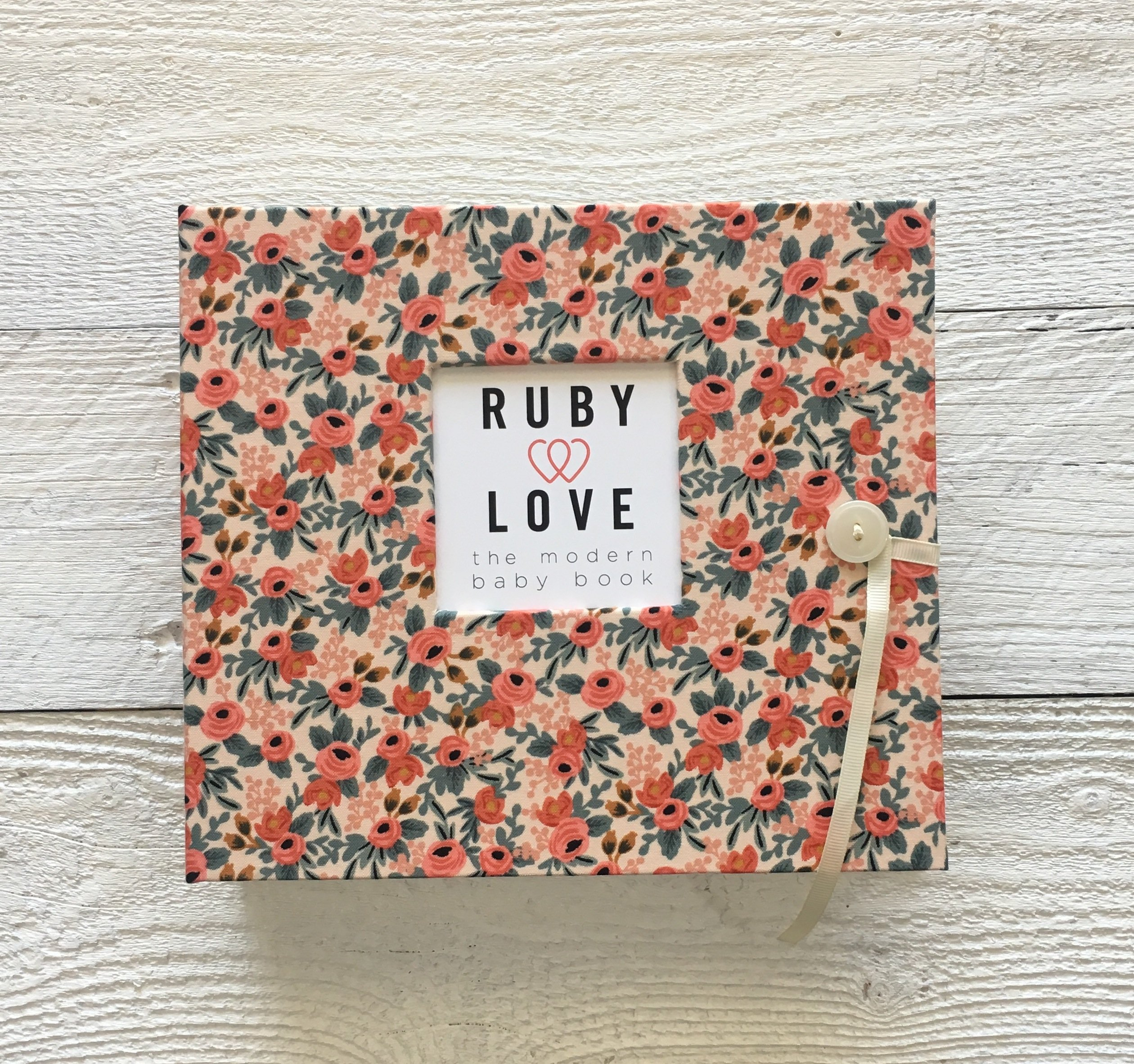 Rifle Paper Co. Rosa Floral Baby Memory Book (Peach)