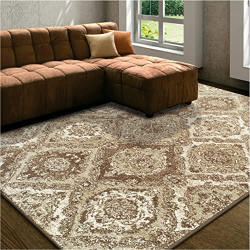 Superior Designer Hayden Area Rug Collection, Intricate Damask Ogee Pattern, 6mm Pile Height with Jute Backing, Affordable and Beautiful Rugs – 8 x 10 , Brown