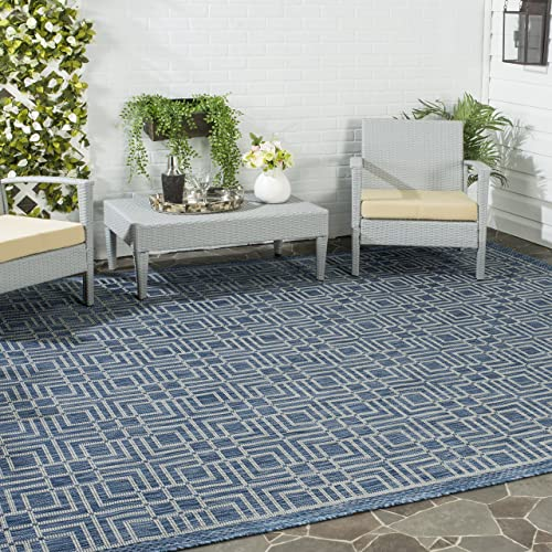 Safavieh Courtyard Collection CY8467-36821 Navy and Grey Indoor Outdoor Area Rug 9 x 12